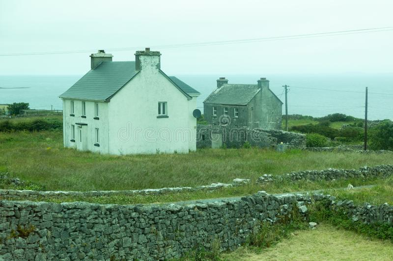 Houses on the Aran Islands. Houses on the isolated and stark Aran Island of Inishmoor in Ireland royalty free stock image