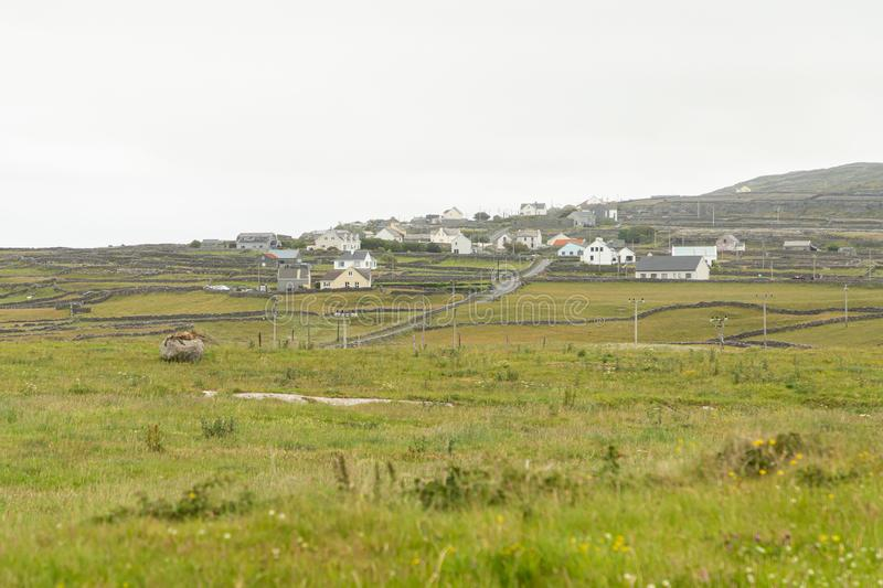 Houses on the Aran Islands. Houses on the isolated and stark Aran Island of Inishmoor in Ireland stock images