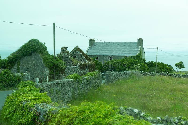 Houses on the Aran Islands. Houses on the isolated and stark Aran Island of Inishmoor in Ireland royalty free stock photo