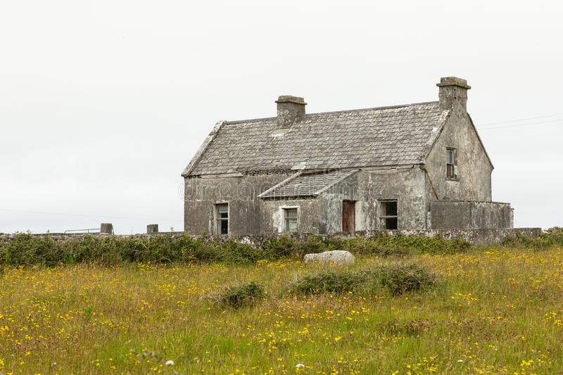 Houses on the Aran Islands. Houses on the isolated and stark Aran Island of Inishmoor in Ireland stock image