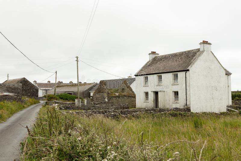 Houses on the Aran Islands. Houses on the isolated and stark Aran Island of Inishmoor in Ireland stock photo