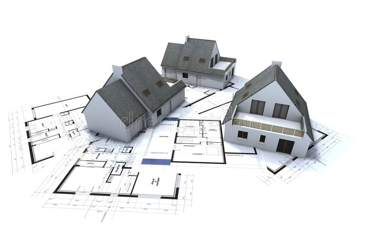 Houses on architect plan 2. Mock-up houses on top of architecture plans vector illustration