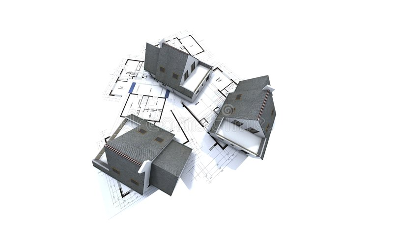 Houses on architect's plan. Mockup houses on top of architect's plans royalty free illustration