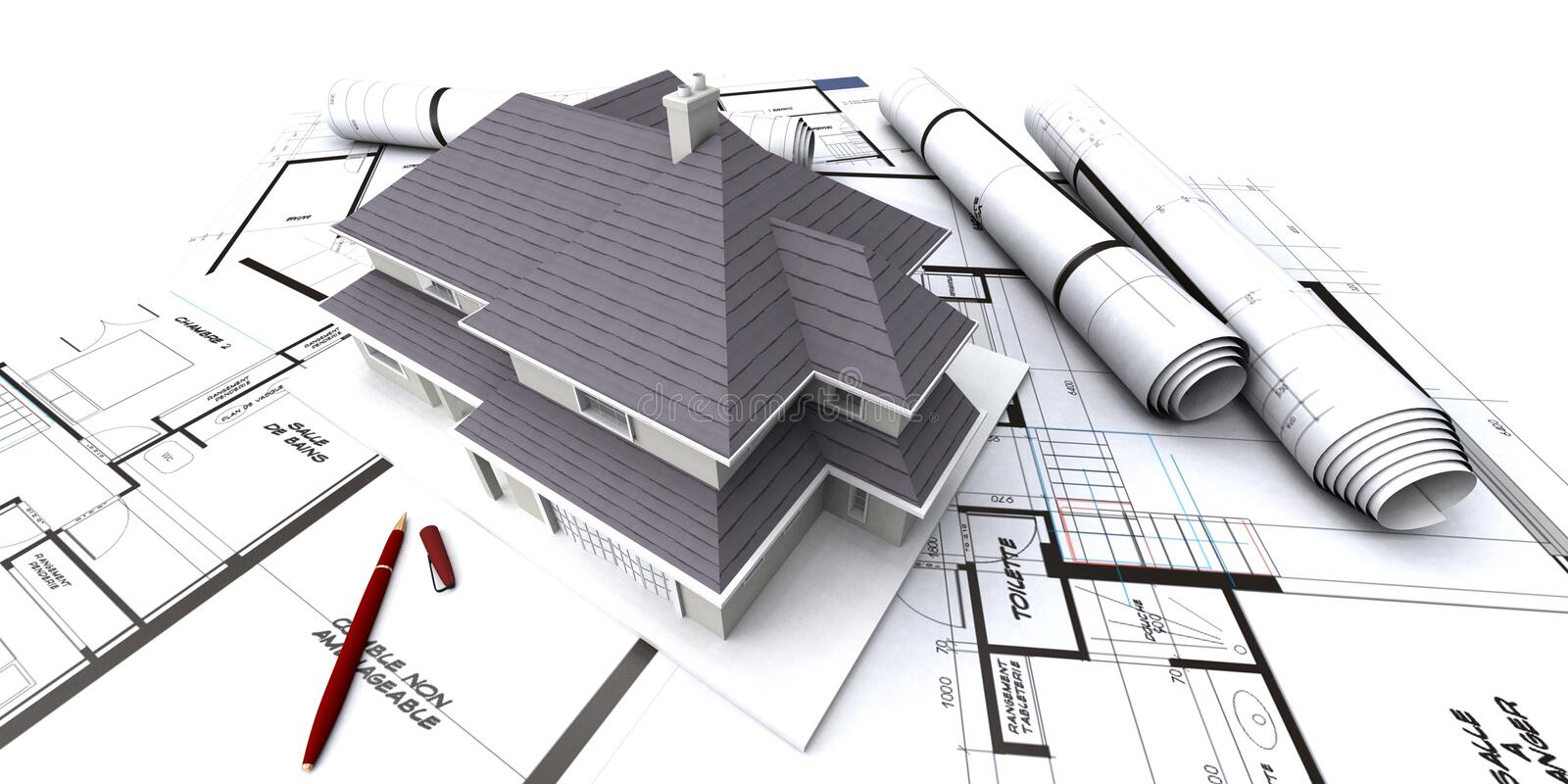 Download Houses on architect's plan stock image. Image of house - 2008837