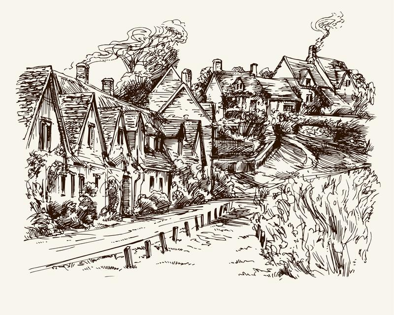 Houses of Arlington Row in the village of Bibury, England. vector illustration