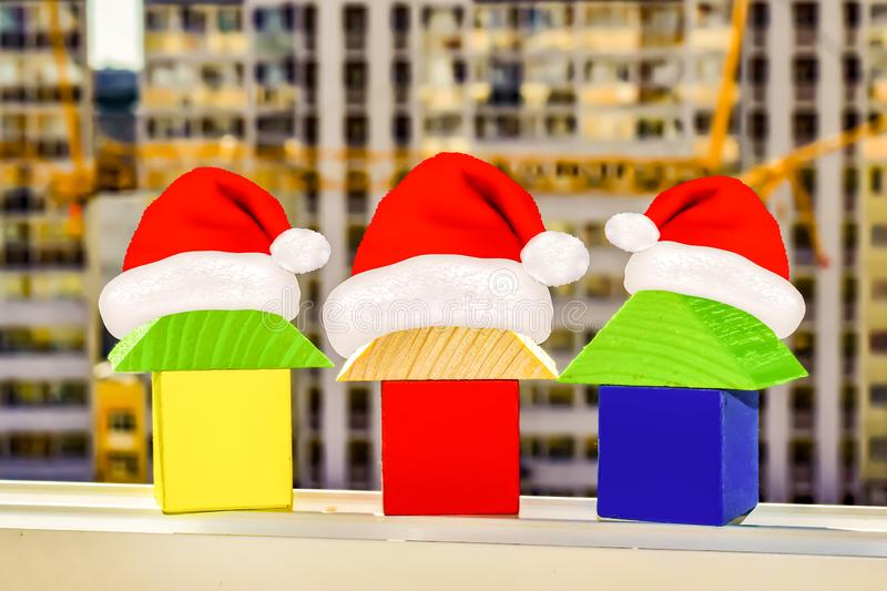 The houses on the background of building a new home . Christmas sale real estate.  royalty free stock images