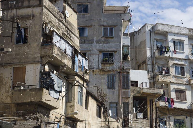 Houses and balconies of Tripoli, Lebanon. Abandoned houses and balconies with laundry of Tripoli, Lebanon stock photo