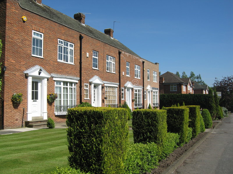 Houses britain yorkshire hedge royalty free stock photography