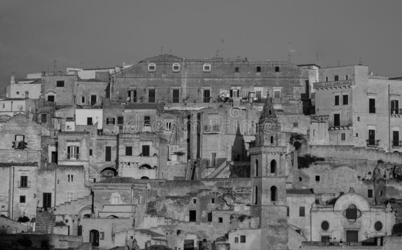 Houses built into the rock in the cave city of Matera, Sassi di Matera, Basilicata Italy. Matera has been designated European Capital of Culture for 2019 royalty free stock photos