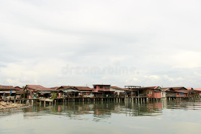 Houses built on water. Fisherman villages built on water in Penang Malaysia stock photography