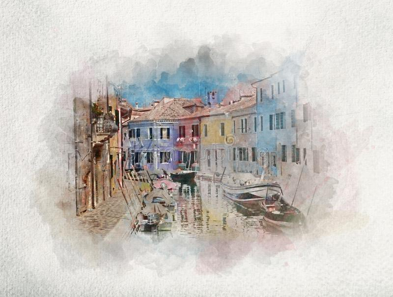 Houses and canal on Burano island in watercolors. Watercolor painting of colorful houses and canal on Burano island, near Venice, Italy. City architecture royalty free illustration