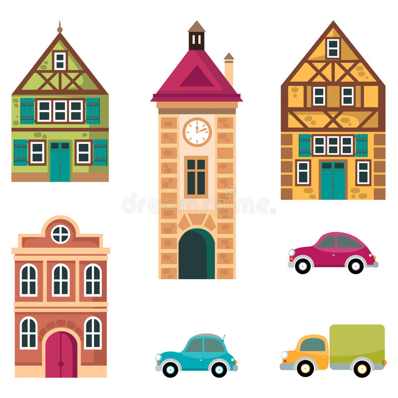 Houses And Car Icon, Cottage Buildings Set, Vector Cartoon ...