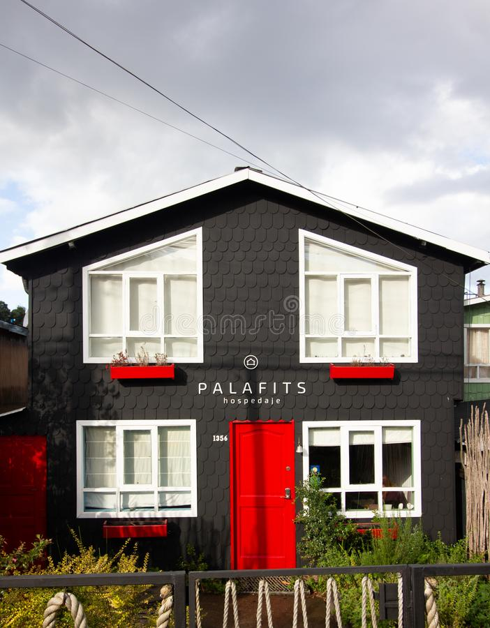 Houses in castro on Chiloe island Chile known as palafitos royalty free stock image