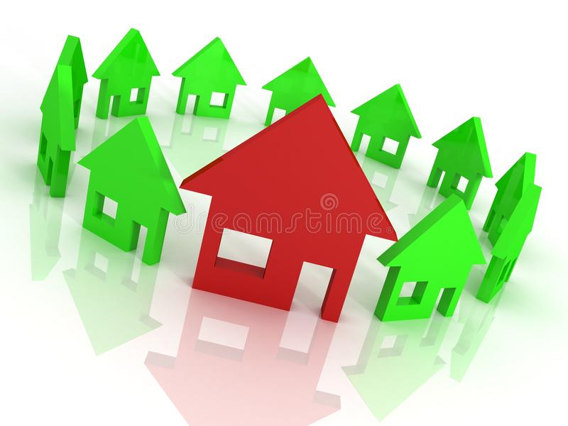 Download Houses Circle On White, Home Choice Concept Stock Photo - Image: 24574920