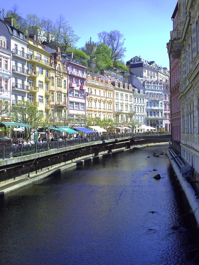 Houses in city center of Karlovy Vary. Beautiful buildings from traditional town of Karlovy Vary, Czech Republic, karlsbad, vacation, water, scenery, holiday royalty free stock image