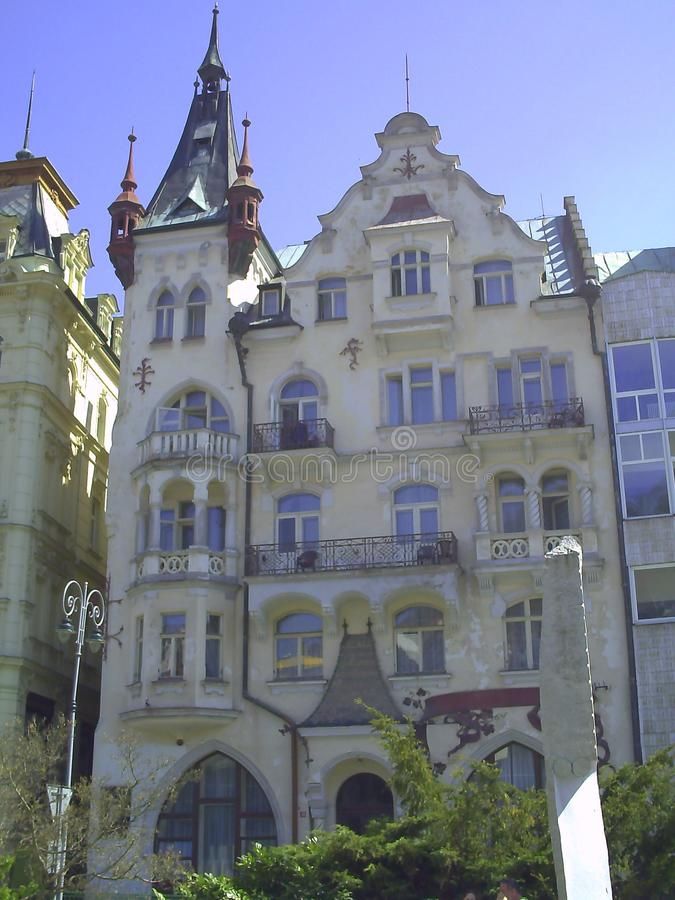 Houses in city center of Karlovy Vary. Beautiful buildings from traditional town of Karlovy Vary, Czech Republic, holiday, water, hot, relaxation, travel royalty free stock images