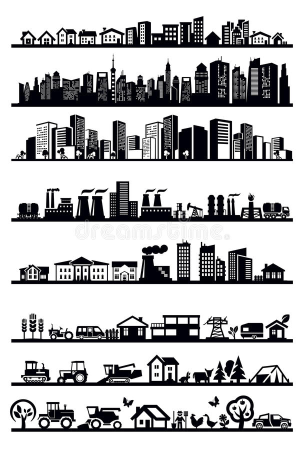 Download Houses and city icons stock vector. Illustration of office - 30555040