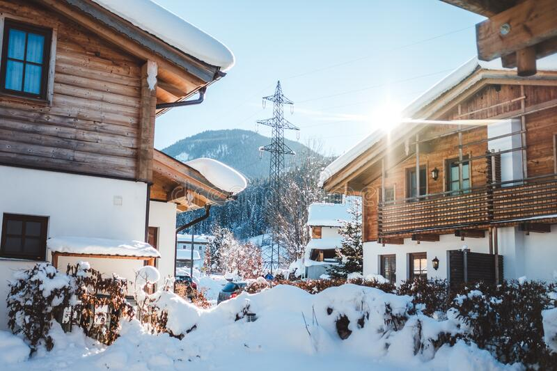 Houses in City during Winter stock photos