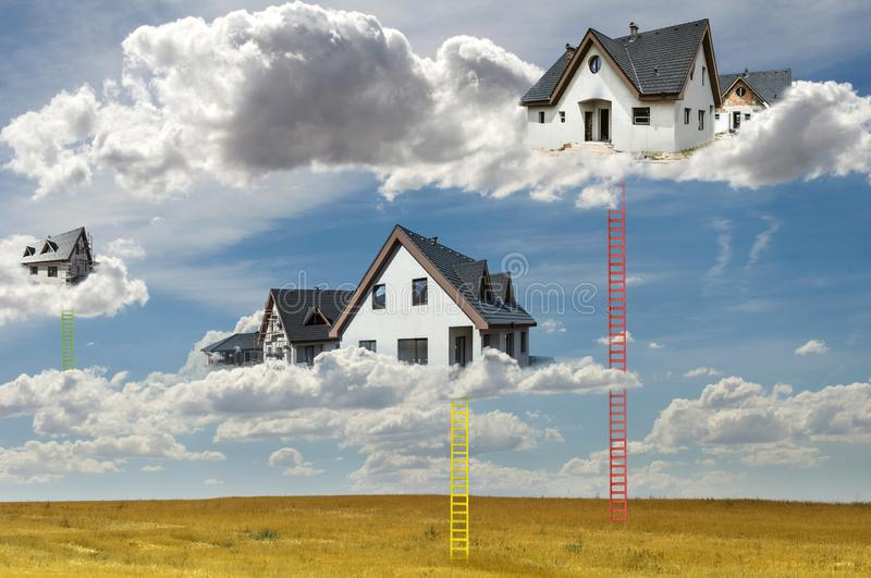 Houses on the clouds and ladders. Abstract concept for smart houses and cloud networks stock photos