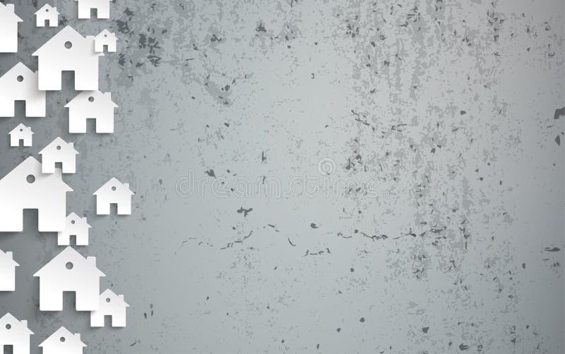 Houses Concrete Banner Side vector illustration