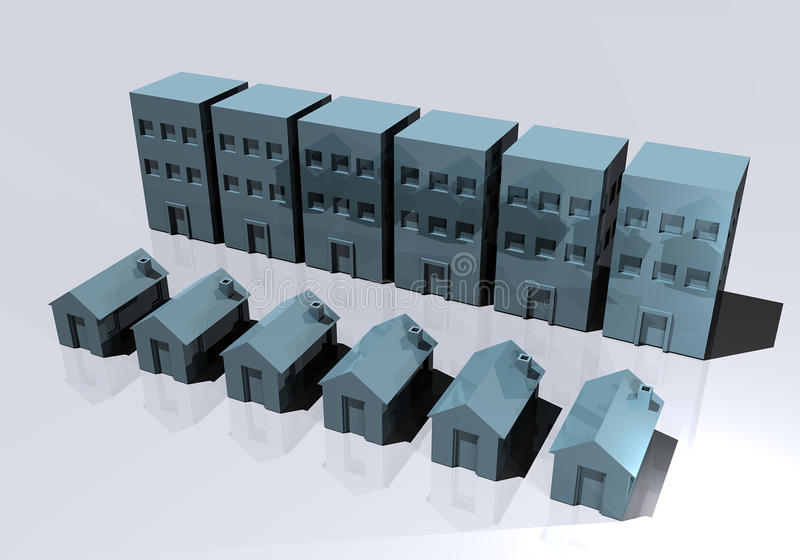 Download Houses And Condos Office Buildings Stock Illustration - Illustration: 21035069