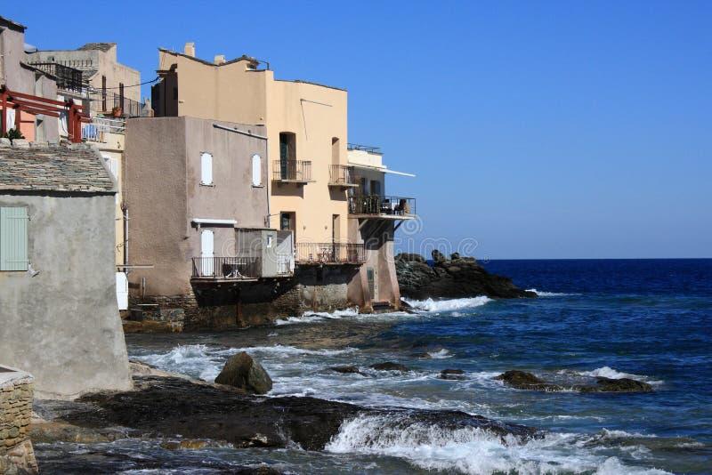 Houses On Corsican Shore Stock Photos