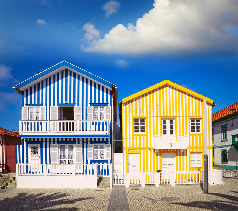 Houses in Costa Nova, Aveiro, Portugal. Colorful houses in Costa Nova, Aveiro, Portugal stock photography