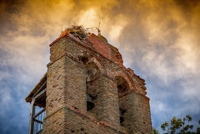 Town stuck in `La Espana Vaciada`. Houses demolished at sunset. Otero de Sariegos, Zamora stock photo