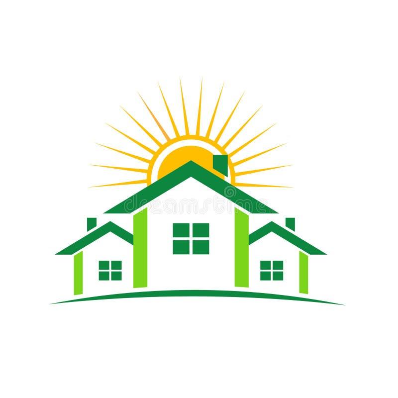 houses den soliga logoen royaltyfri illustrationer