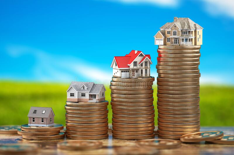 Houses of different size with on stacks of coins. Property, mortgage and real estate investment concept. 3d illustration stock illustration