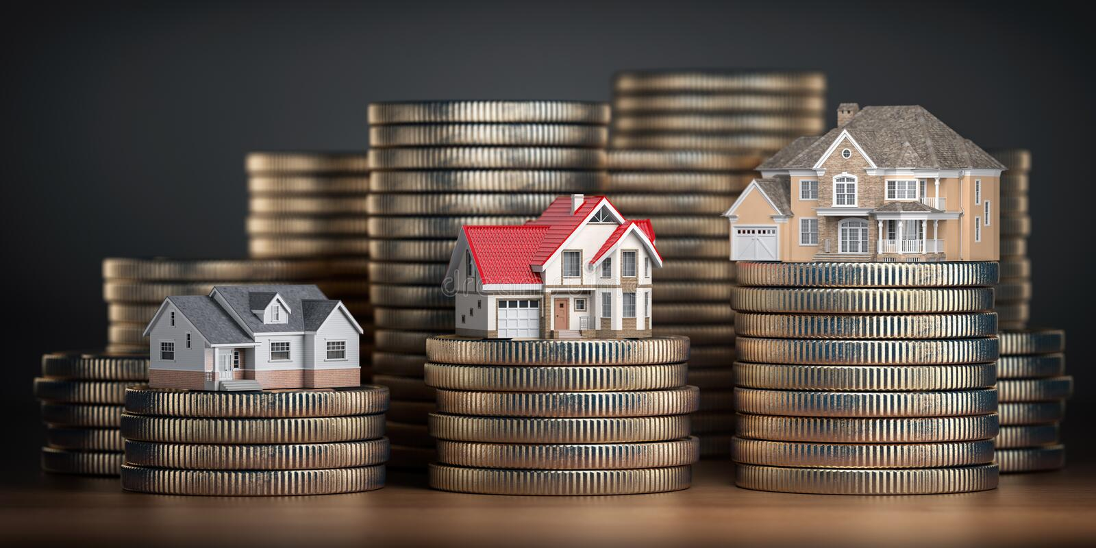 Houses of different size with different value on stacks of coins. Concept of property, mortgage and real estate investment. 3d illustration stock illustration