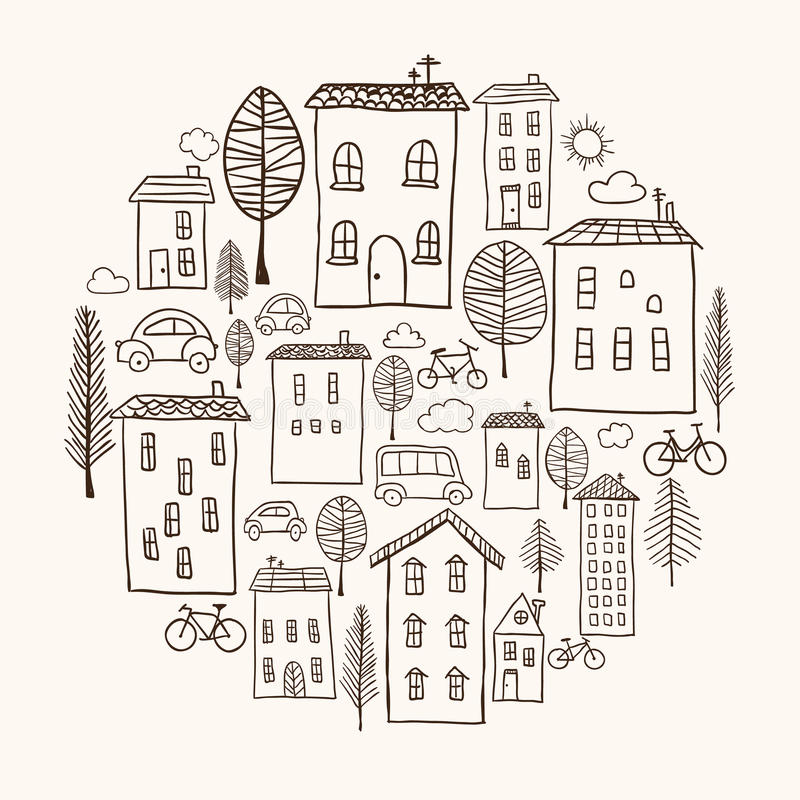 Houses doodles in circle vector illustration
