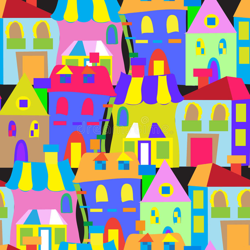 Houses doodles seamless pattern stock illustration
