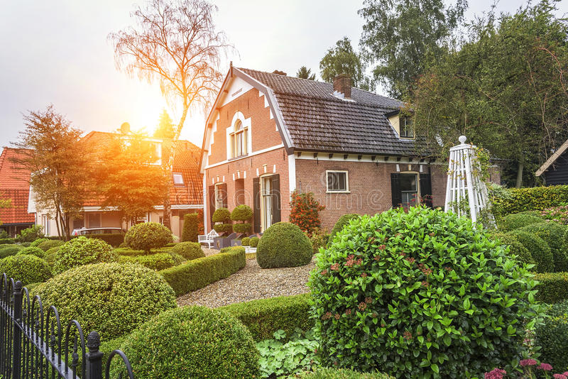 Houses in Ede, Netherlands. Colored houses and gardens of Ede, a picturesque village in the Netherlands royalty free stock image
