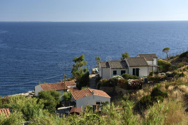 Houses at Elba Coast, Tuscany, Italy stock photos