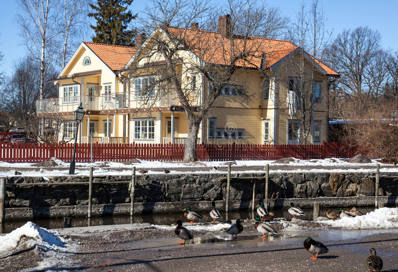 Houses and environment in Sweden. House in a little village, Trosa, in Sweden stock image