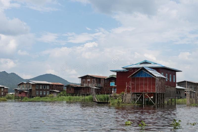 Houses on famous inle lake in central myanmar stock images