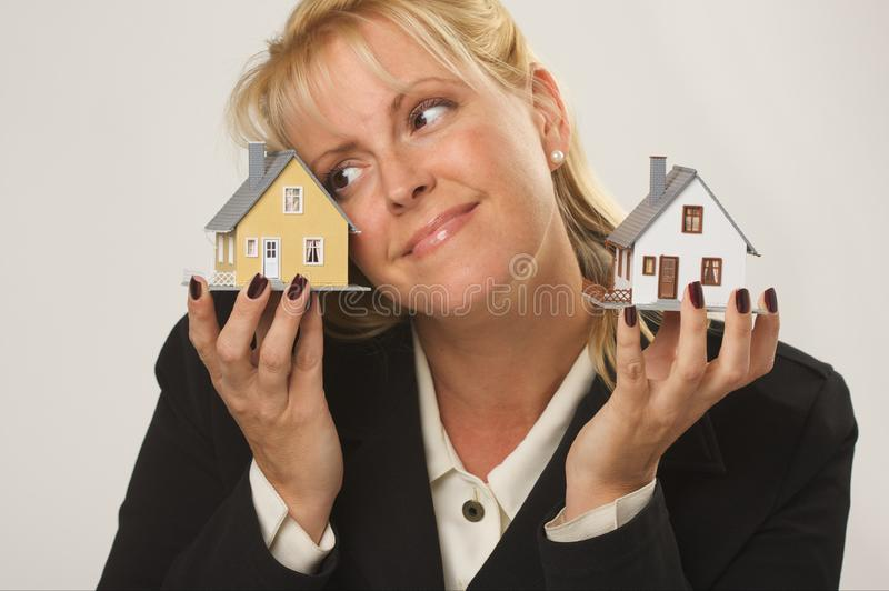 Houses in Female Hands royalty free stock images