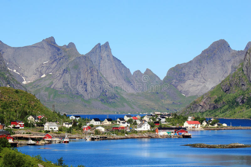Houses on the fjord of Reine in Lofoten. The village of Reine, For the Times Magazine the most beautiful place in the world royalty free stock photos