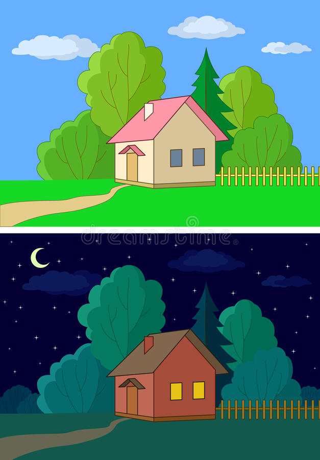 Download Houses on forest edge stock vector. Illustration of cartoon - 19341621