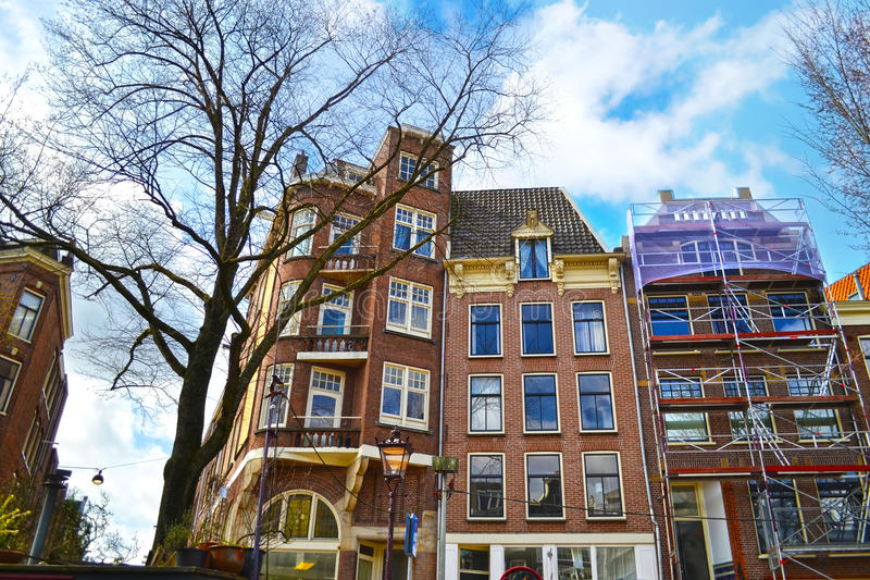 Houses in front of the canals Amsterdam Holland stock photos