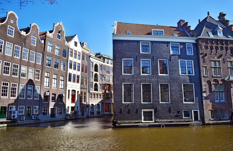 Houses in front of the canals Amsterdam Holland royalty free stock photos