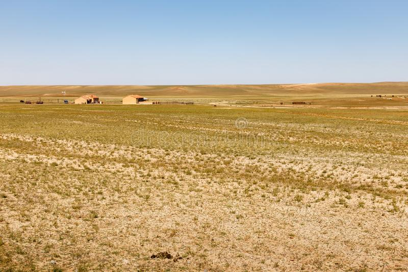 Houses in the Gobi Desert, Inner Mongolia, China royalty free stock photography