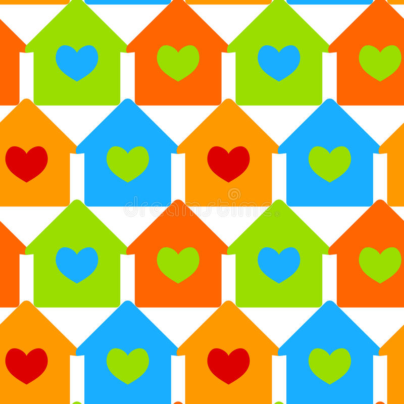 Houses with heart windows seamless background vector illustration