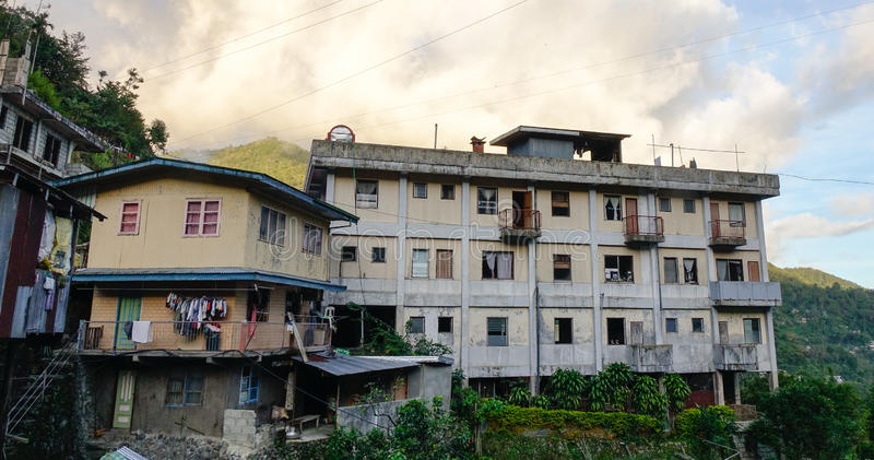 Houses on the hill in Banaue, Philippines stock photo