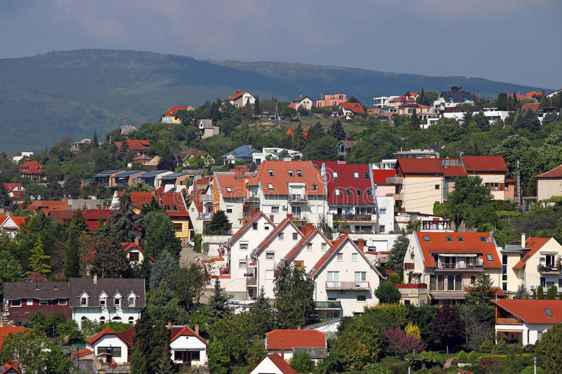 Houses on hill Pecs Hungary. Europe royalty free stock photo