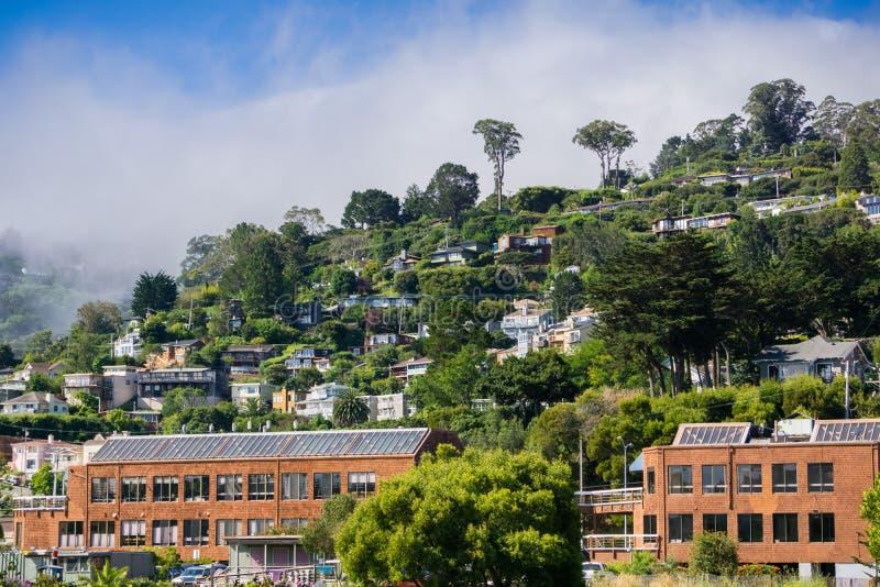 Houses on the hills of Sausalito, north San Francisco bay, California royalty free stock photo
