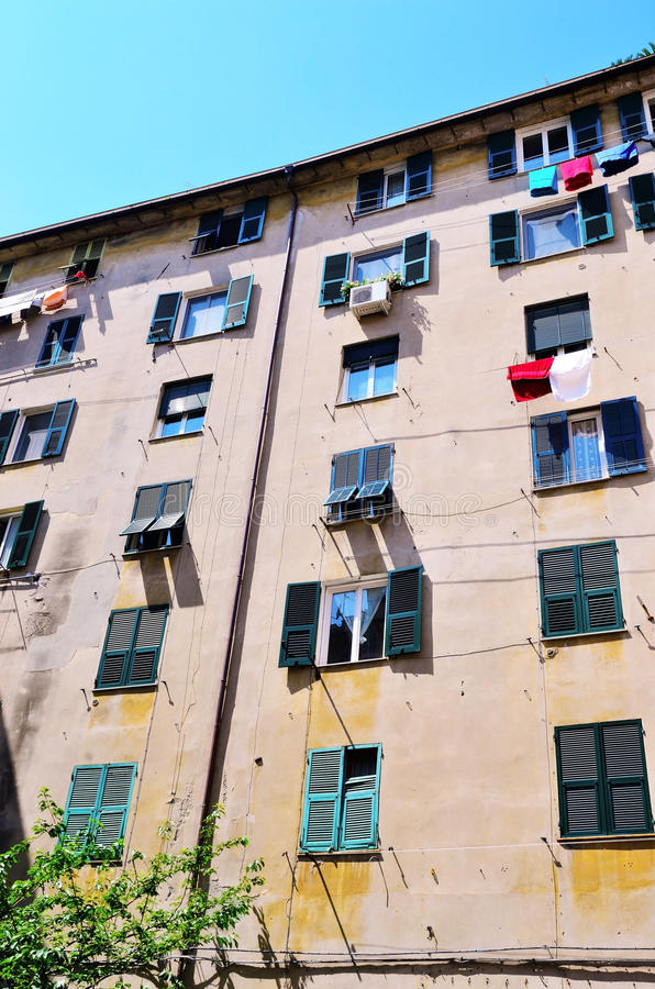 Houses in the historic center of Genoa stock images