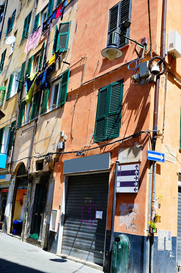 Houses in the historic center of Genoa stock photos