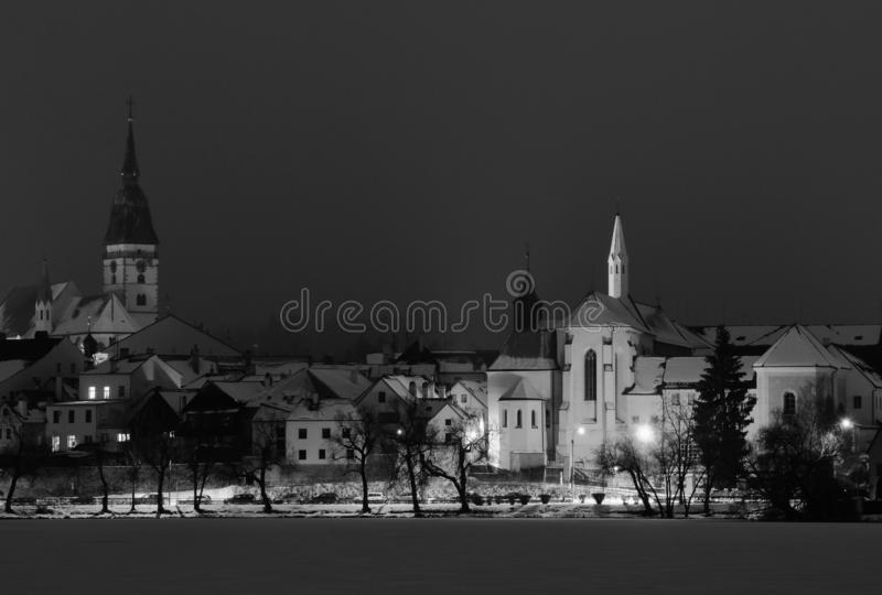 Houses in the historical part, town Jindrichuv Hradec, southern Bohemia. Czech Republic stock photography